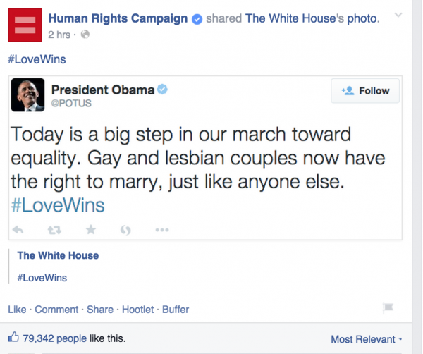 Fb post https://www.facebook.com/humanrightscampaign/posts/10153468237348281