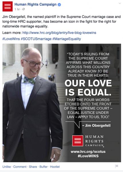 Fb post https://www.facebook.com/humanrightscampaign/posts/10153468409773281